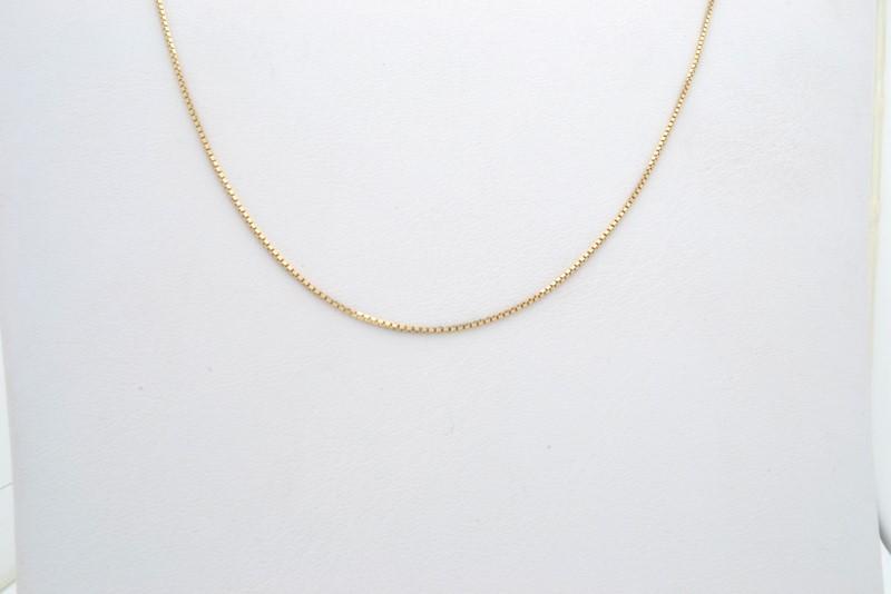 "ESTATE BOX NECKLACE CHAIN SOLID 14K YELLOW GOLD FINE 585 18"""