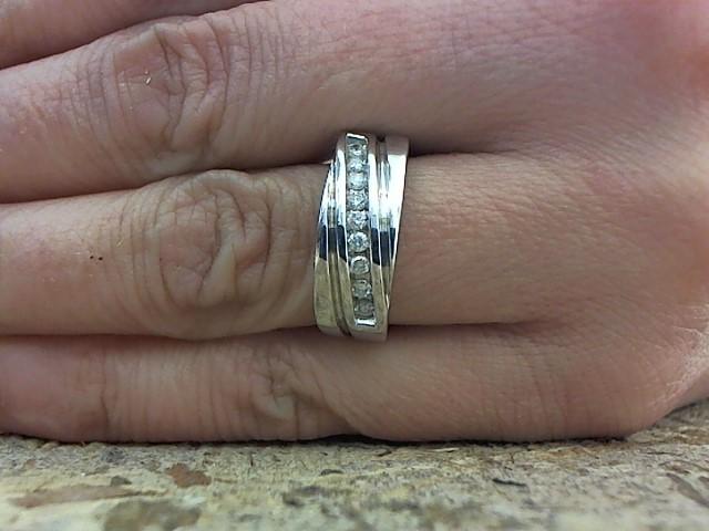 Gent's Diamond Fashion Ring 9 Diamonds .18 Carat T.W. 14K White Gold 7.3g