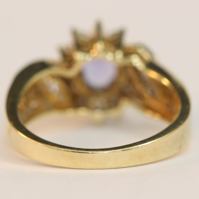 14K Yellow Gold Tanzanite and Diamond Ring Size 7