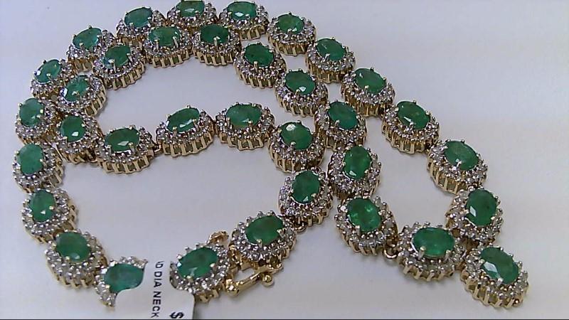 20.01 CTTW Genuine Emerald & Diamond 14K Yellow Gold Necklace