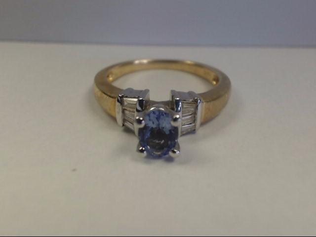 Tanzanite Lady's Stone & Diamond Ring 6 Diamonds .12 Carat T.W. 14K Yellow Gold