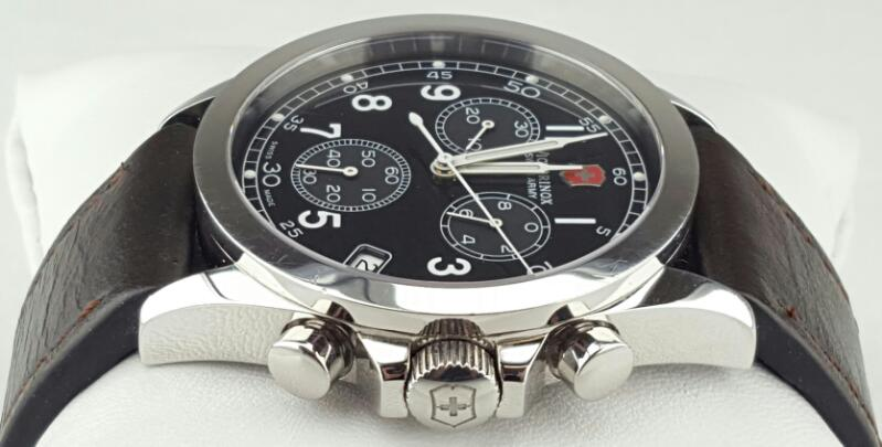 VICTORINOX Swiss Army 24071 Infantry Chronograph/Date Leather Strap Black Dial
