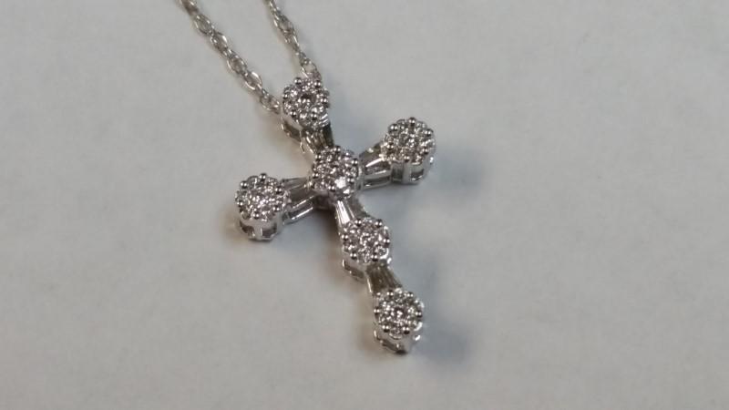 "18"" Diamond CROSS Necklace 52 Diamonds .52 Carat T.W. 14K White Gold 2.3g"
