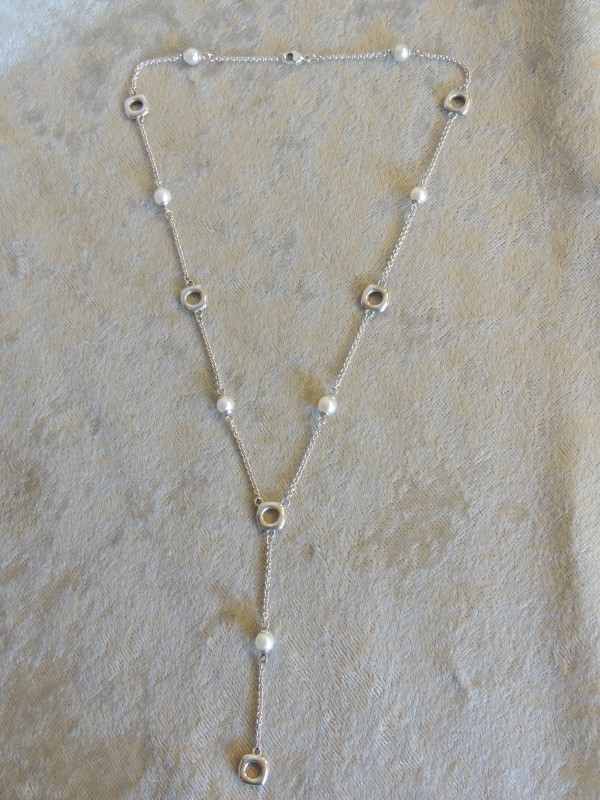Tiffany & Co. Sterling Silver Cushion Pearl Lariat Drop Dangle Necklace