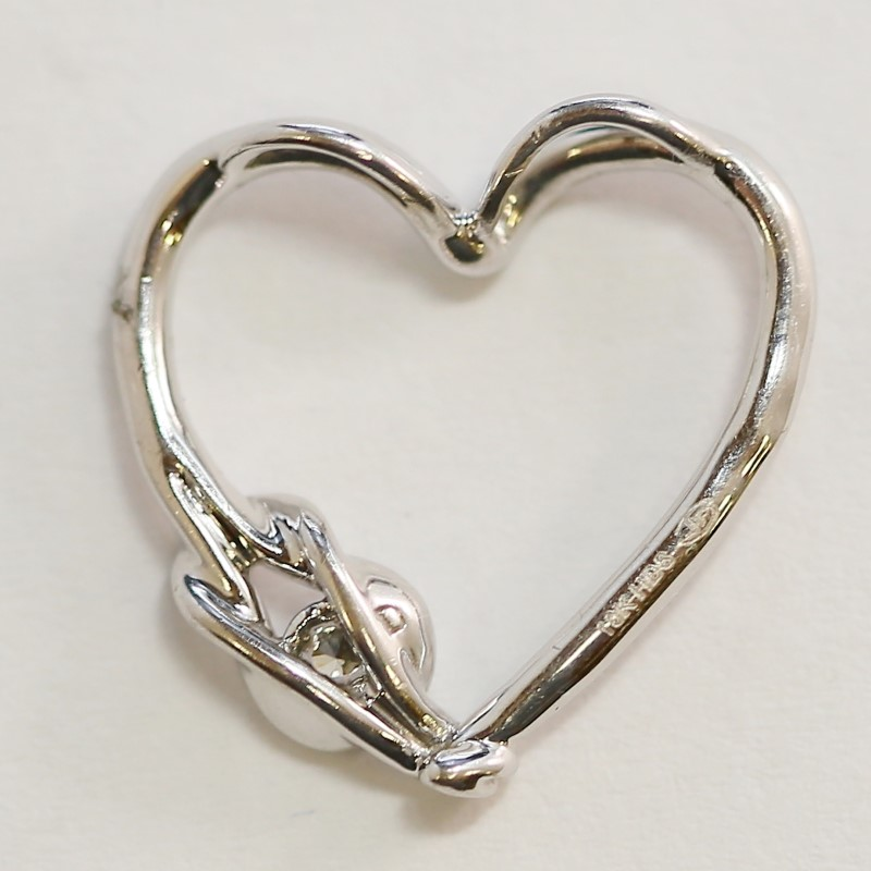 10K White Gold Solitaire Diamond Loop Knot Heart Shaped Pendant