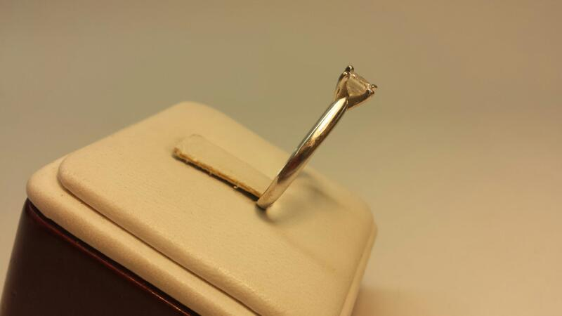 14k White Gold Band with 1 Princess Cut Diamond at .42ctw - 1.9dwt - Size 9