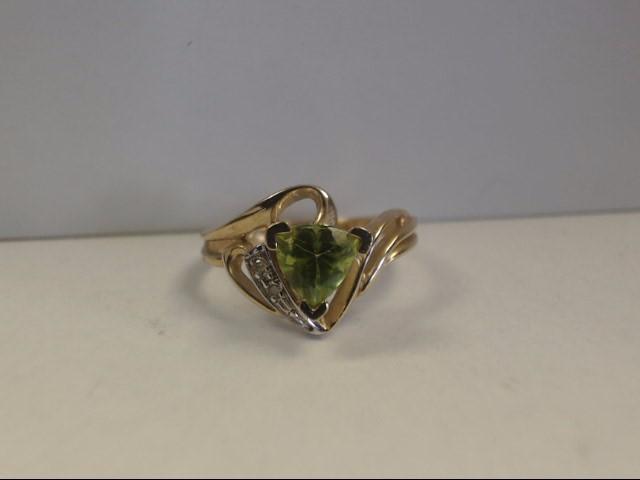 Peridot Lady's Stone & Diamond Ring 2 Diamonds .02 Carat T.W. 10K Yellow Gold