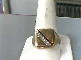 Gent's Diamond Fashion Ring 7 Diamonds .07 Carat T.W. 10K Yellow Gold 3.1dwt