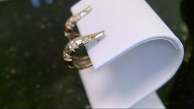 lady's 14k yellow gold diamond hoop earrings