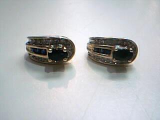 Blue Stone Gold-Diamond & Stone Earrings 30 Diamonds .30 Carat T.W.