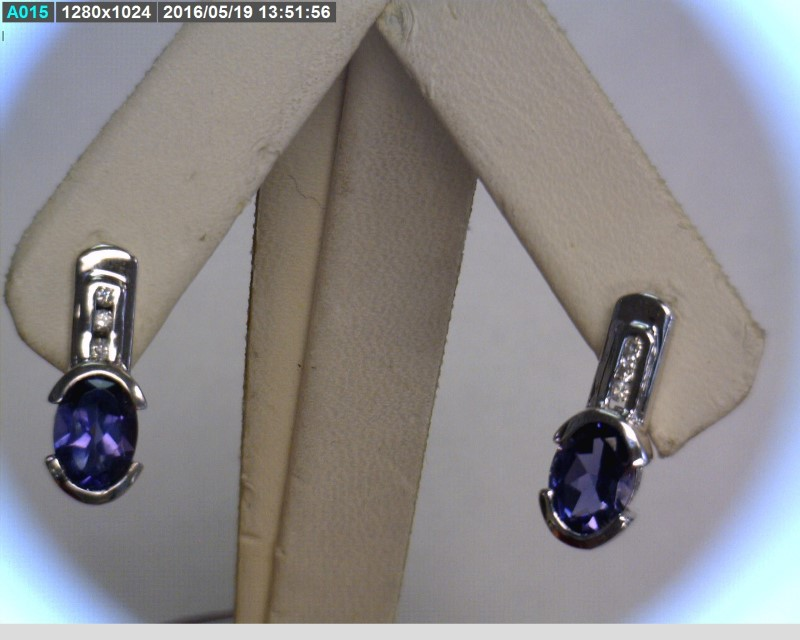 Iolite Gold-Diamond & Stone Earrings 6 Diamonds .06 Carat T.W. 14K White Gold
