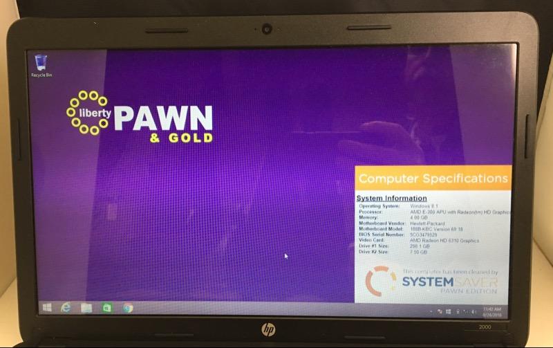 HP 2000-2D49WM (AMD E-300 1.3 GHZ, 4 GB HD, 320 GB HD, WIN 8.1)