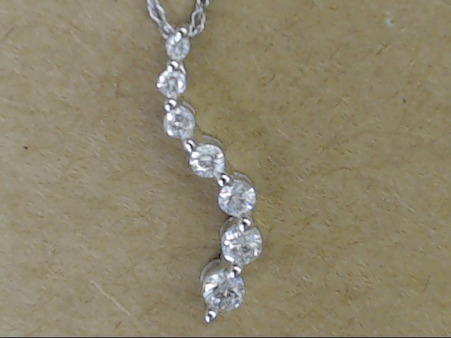 ESTATE NATURAL DIAMOND WAVE JOURNEY NECKLACE REAL 10K WHITE GOLD 18""