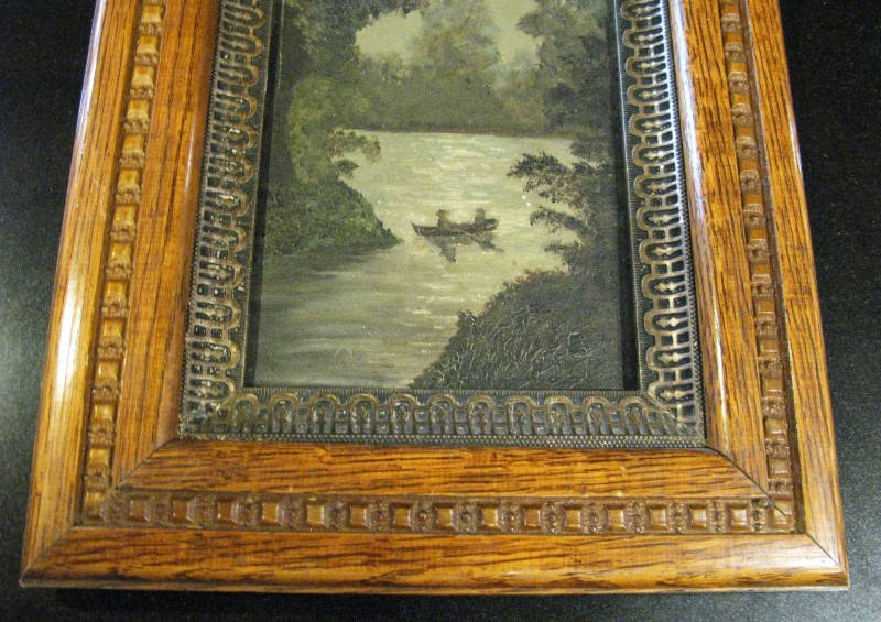 Early American Original Painting of Couple Canoeing at Sunset in Ornate Oak Fram