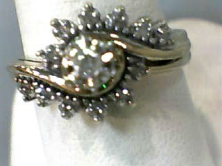 Lady's Diamond Wedding Set 13 Diamonds .110 Carat T.W. 10K Yellow Gold 3.1dwt
