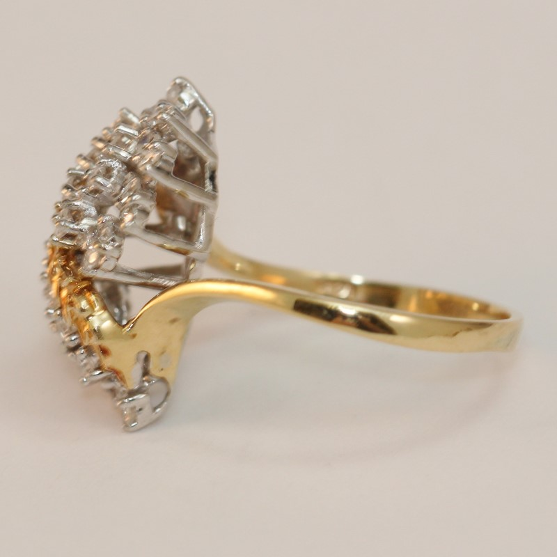14K Yellow Gold Leaf Vine Diamond Cluster Ring Size 10.5