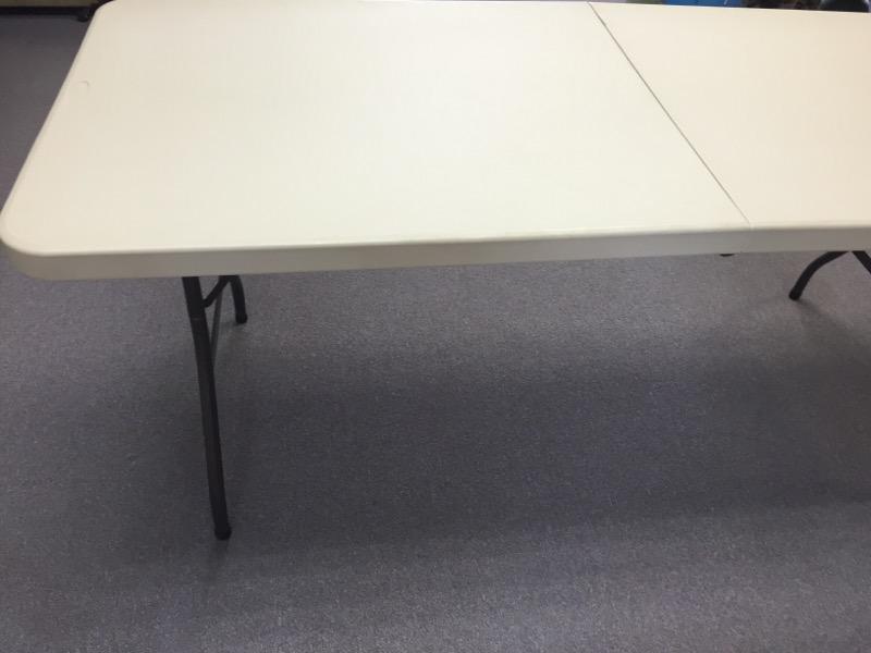 """SAMSONITE 72"""" L X 30"""" W BEIGE PLASTIC FOLDING TABLE"""