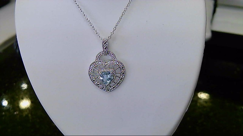 Lady's sterling silver 925 aquamarine heart round diamond necklace