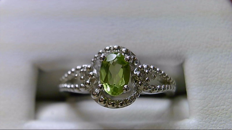 Peridot Lady's Silver-Diamond & Stone Ring 2 Diamonds .02 Carat T.W. 925 Silver