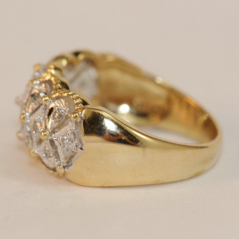 Vintage Inspired 14K Y/G Round Brilliant Diamond Ring Size 7.3