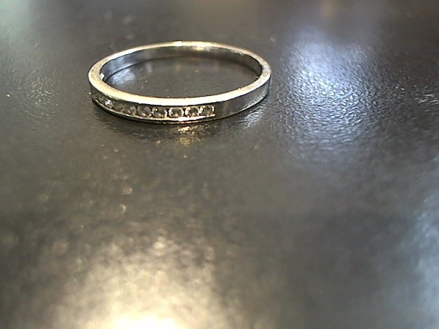 Lady's Gold-Diamond Anniversary Ring 9 Diamonds .18 Carat T.W. 14K White Gold