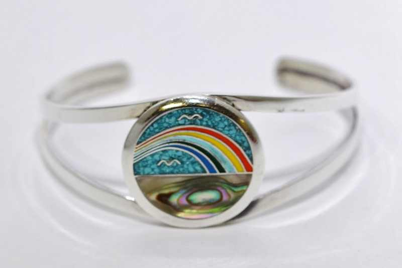 Inlaid Turquoise, Mother of Pearl, Enamel Rainbow Beach Silver Cuff Bracelet