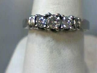 Lady's Gold-Diamond Anniversary Ring 3 Diamonds .47 Carat T.W. 14K White Gold