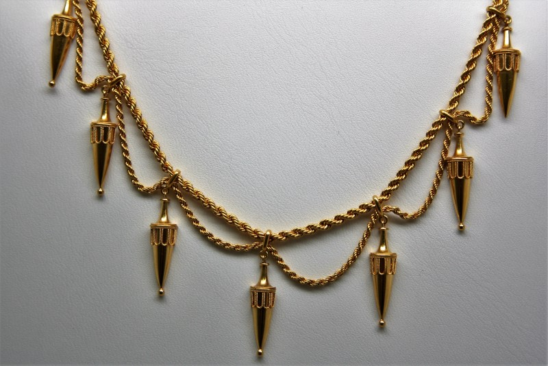 """16"""" FANCY DESIGN NECKLACE 22K YELLOW GOLD"""