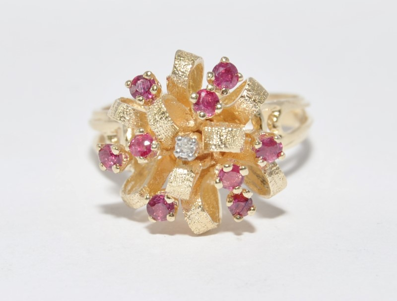 10K Yellow Gold Split Shank Textured Ruby & Diamond Ribbon Bow Statement Ring 9