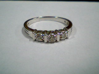 Lady's Gold-Diamond Anniversary Ring 3 Diamonds .18 Carat T.W. 10K White Gold