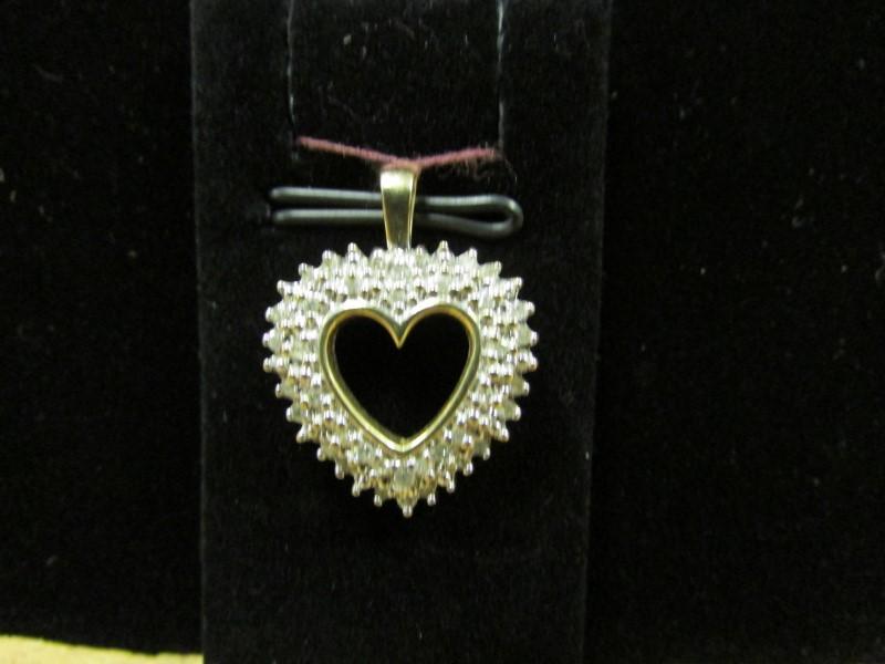 Gold-Multi-Diamond Pendant 38 Diamonds 0.38 Carat T.W. 10K Yellow Gold 3.2g