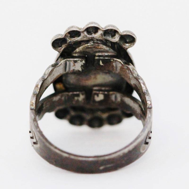 Sterling Silver Split Shank Vintage Inspired Western Turquoise Ring sz 5.75