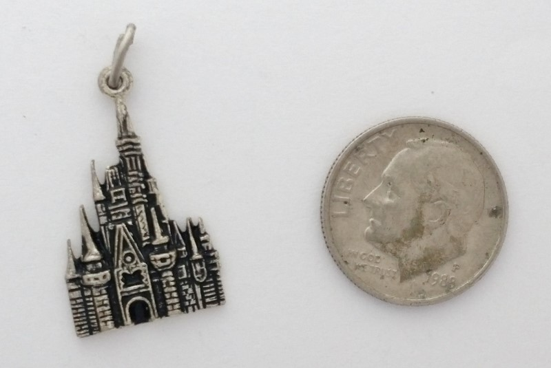 Sterling Silver Walt Disney Productions Cinderella's Castle Dangle Charm