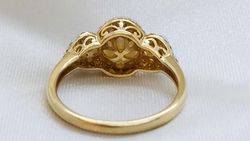 Lady's Pearl & Diamond Ring 44 Diamonds .44 Carat T.W. 14K Yellow Gold