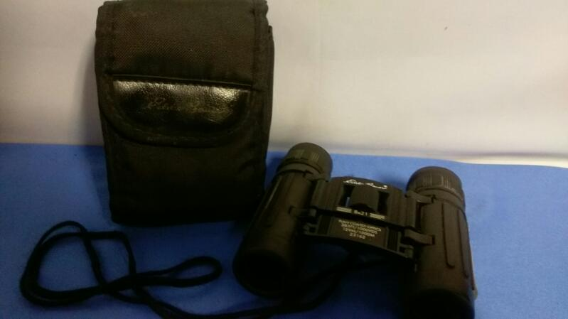 Eddie Bauer Small Binoculars Black w Case & Dust Cloth 8x21 383 ft 129M/1000M