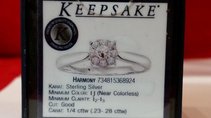 Lady's Silver-Diamond Ring 9 Diamonds .26 Carat T.W. 925 Silver 2.07g Size:7