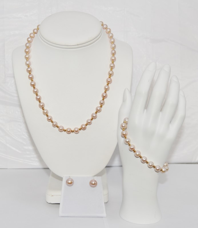 Pink Freshwater Pearl Necklace, Earring, Bracelet Set 14K Yellow Gold