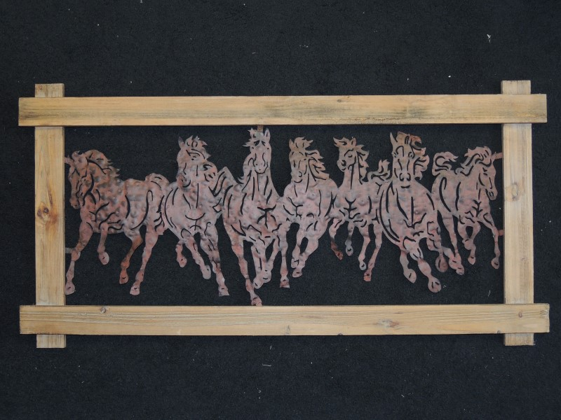 GALLOPING HORSES HAMMERED TIN IN WOOD FRAME 18.5H x 36.5""