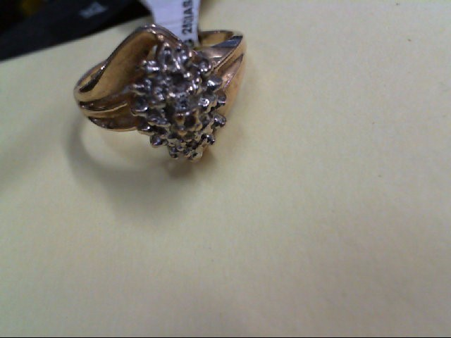 Lady's Diamond Cluster Ring 25 Diamonds .25 Carat T.W. 10K Yellow Gold 2.3g