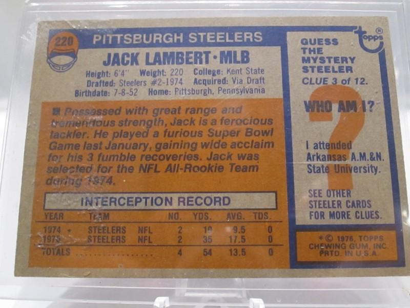 JACK LAMBERT AUTOGRAPHED ROOKIE CARD
