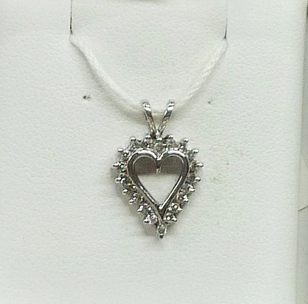 Gold-Multi-Diamond Pendant 20 Diamonds .20 Carat T.W. 10K White Gold 0.88dwt
