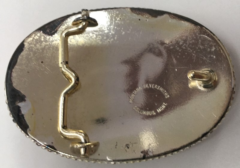 "MONTANA SILVERSMITHS ""HORSE"" BELT BUCKLE, 2.5 x 3.5"", SILVER PLATED BRASS."