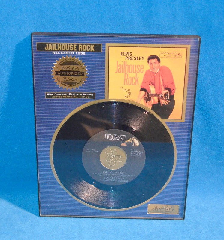 RCA ELVIS PRESLEY FRAMED RECORD JAILHOUSE ROCK RIAA CERTIFIED NO. 3 OF 90