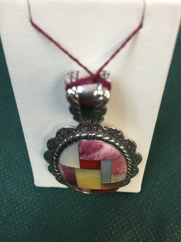 Synthetic Mother Of Pearl Silver-Stone Pendant 925 Silver 17.6g