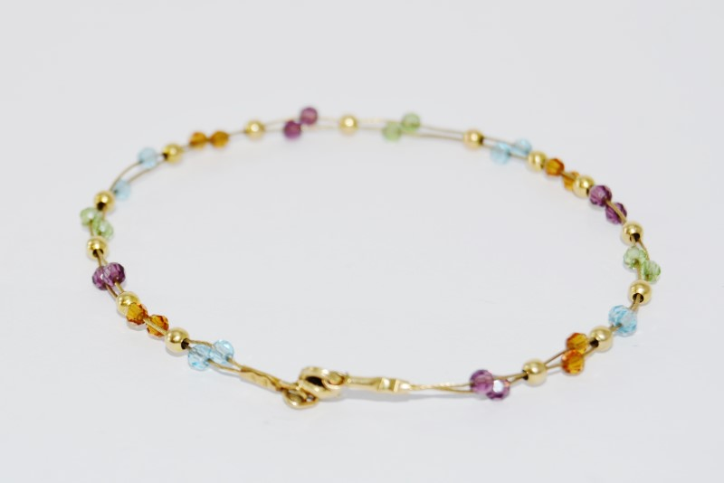14K Yellow Gold Rainbow Multi-Colored Beaded Wire Bracelet/Anklet