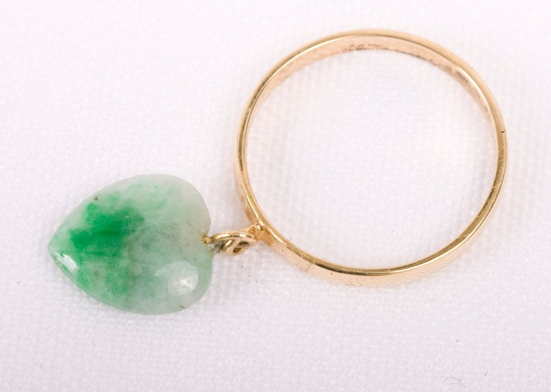 Jade Lady's Stone Ring 14K Yellow Gold 1.5g