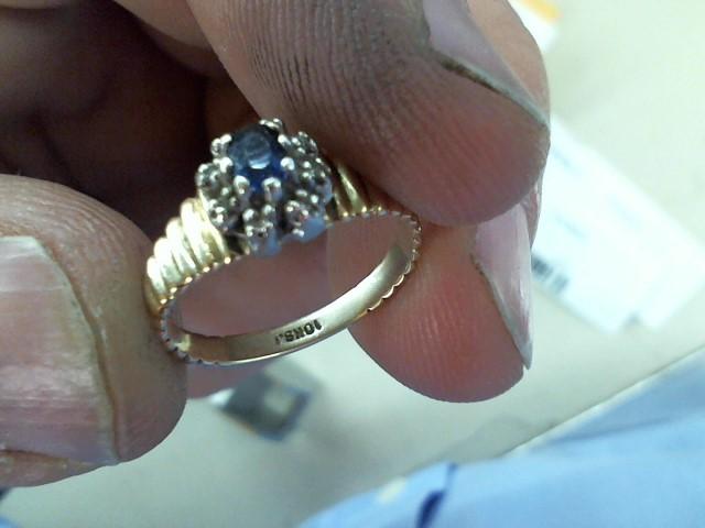 Synthetic Sapphire Lady's Stone & Diamond Ring 8 Diamonds .08 Carat T.W.