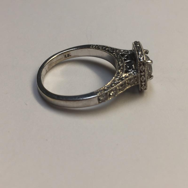 Lady's Diamond Engagement Ring 21 Diamonds 1.33 Carat T.W. 14K White Gold
