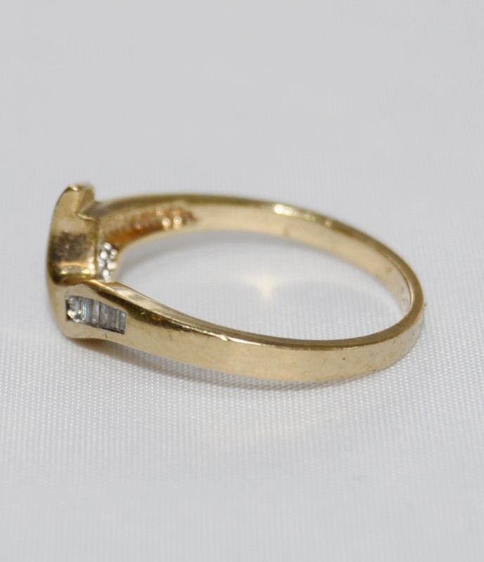 14K Yellow Gold Unique Baquette Diamond Wrap Style Ring Band sz 6