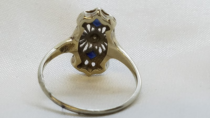 Sapphire Lady's Stone & Diamond Ring 5 Diamonds .25 Carat T.W. 18K White Gold